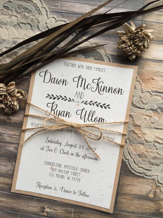 Rustic Wedding Invitation Vintage Wedding by DawnMarieCreations82