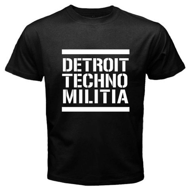 New DETROIT TECHNO MILITIA Logo Men's White Black T-Shirt Size S To 2XL Top Quality Cotton Casual Men T Shirts Men Free Shipping