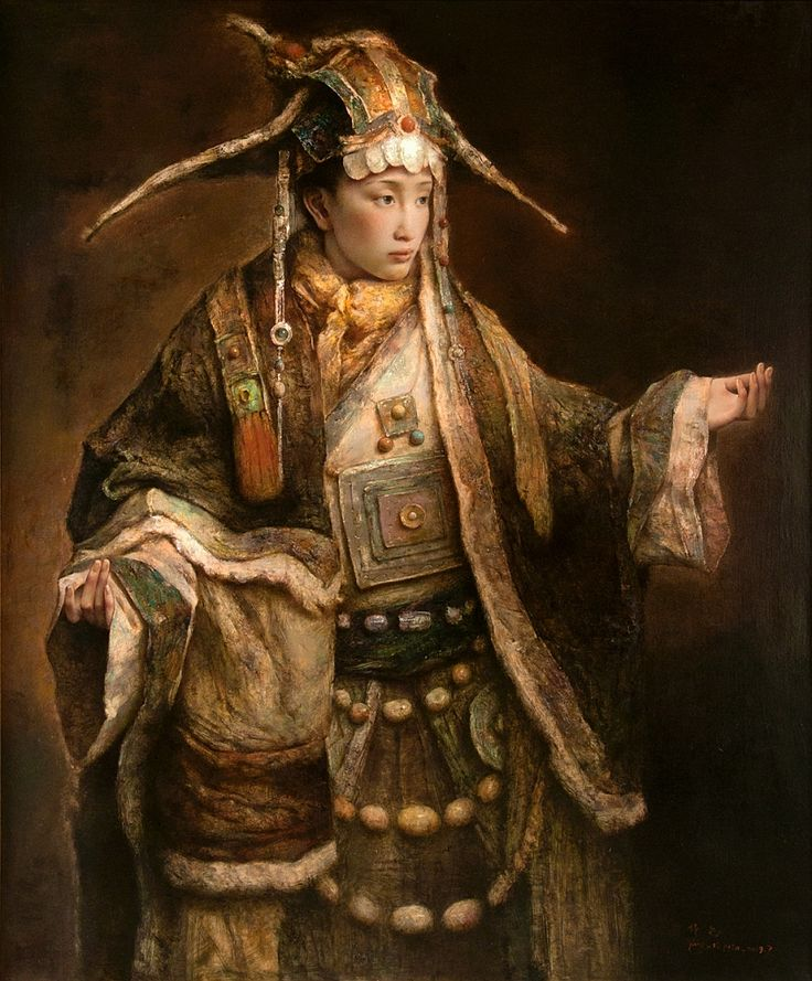 Tang Wei Min's Rembrandt-inspired portraits of women in traditional Chinese costume. Lines & Colors: http://linesandcolors.com/2015/11/06/tang-wei-min-update/