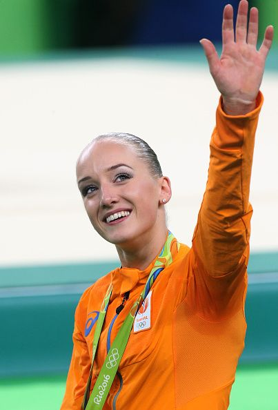 Gold medalist Sanne Wevers of the Netherlands poses during the medal ceremony…