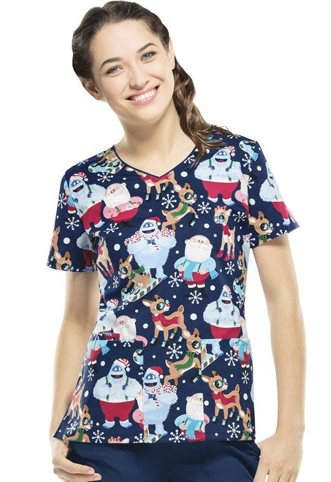 "This ""Cool Rudolph"" v-neck is a festive and fun scrub top to wear this holiday season! 
