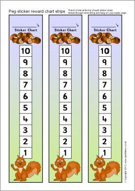 Squirrel-themed peg sticker reward chart strips (SB9903) - SparkleBox
