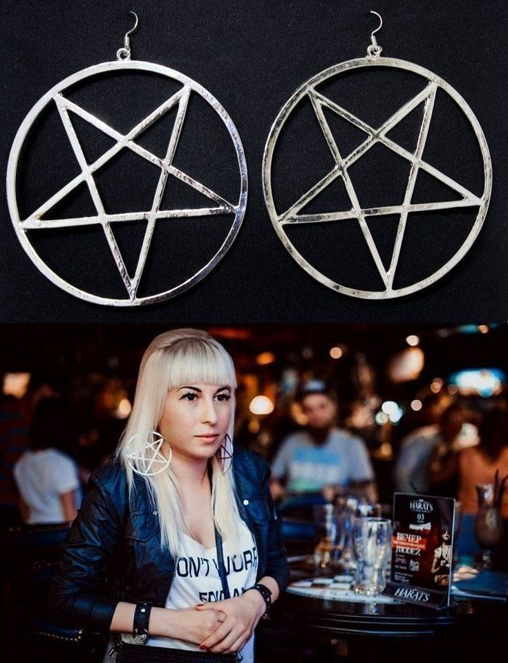 PENTAGRAM HOOP EARRINGS GOTH WICCA GOTHIC SILVER PLATE DEFECTIVE READ DETAILS #Unbranded