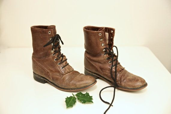 Womens Vintage Leather Roper Boots, Womens Brown Leather Boots, Western Lace Up Boots