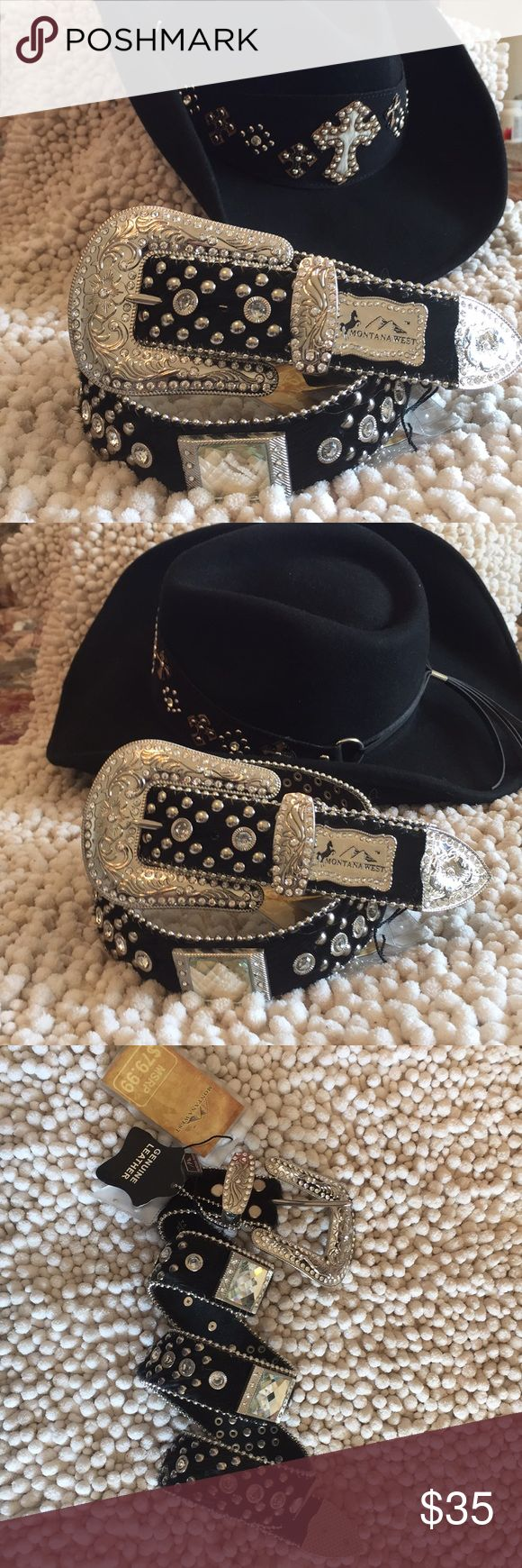 """Ladies Western Bling Horse Hair Belt 32-36"""" 34-38"""" Montana West Ladies Western Belt. High Quality Genuine Leather Black Horse Hair Heavy Duty Belt.  Chrome color metal accessories with Etched with Rhinestone Embellishments. Crosses. On the leather Belt the Rhinestones are riveted in place to insure lasting design. Very flexible Belt with five eyelets to offer a range of waist fits from 34-38.5"""" & 31.5-36""""s. Note this is for the Belt only. The hat shown is just a backdrop for the picture…"""