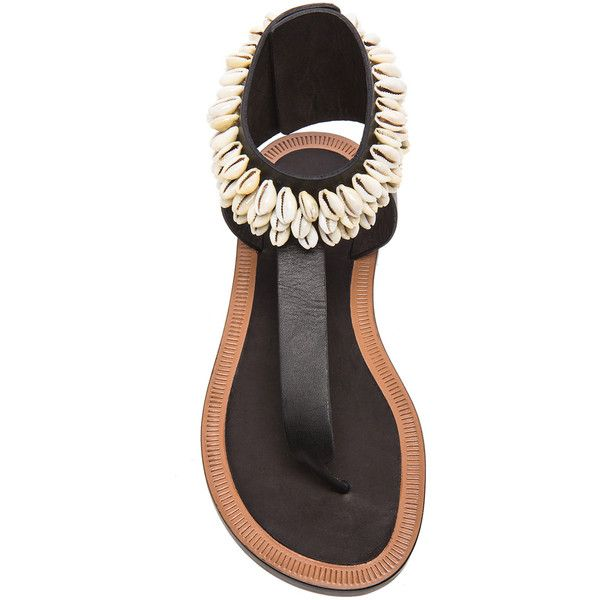 Isabel Marant Jean Cauri Leather Sandals (€140) ❤ liked on Polyvore featuring shoes, sandals, leather sandals, leather footwear, kohl shoes, black shoes and isabel marant