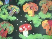 Stamping with mushrooms.....Stempelen met champignons