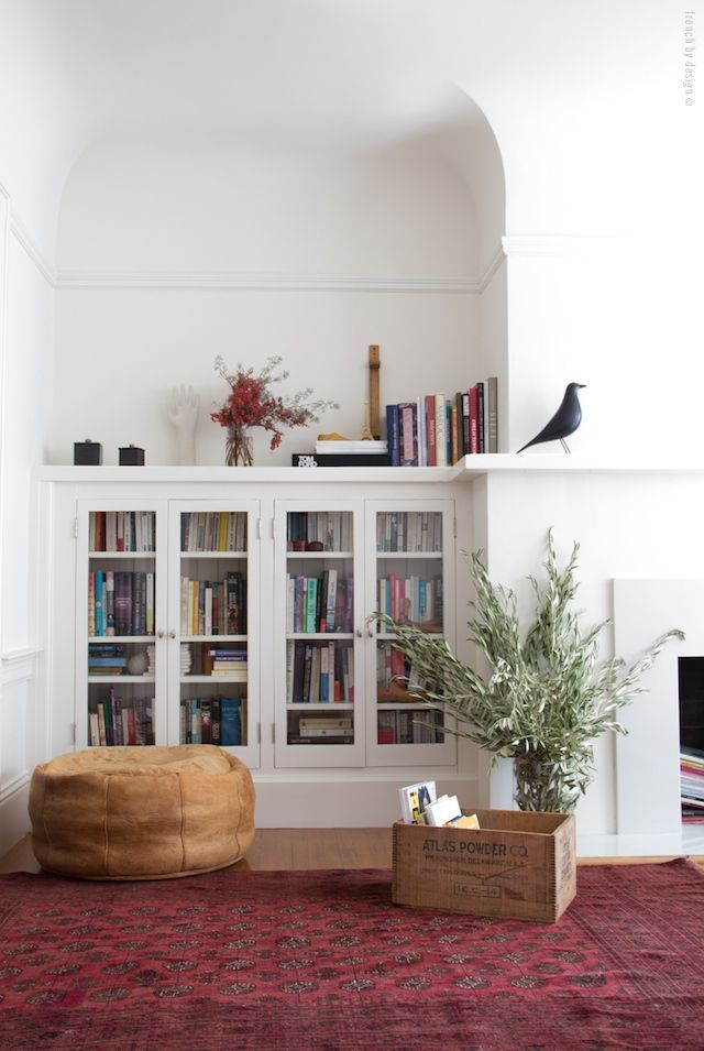 Love the cabinets/shelves and the shape of the nook