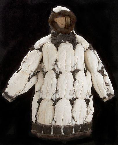 Parka, Ungava Inuit, mid 20th century. feathers, duckskin, sealskin, hair. Collection of Glenbow Museum.