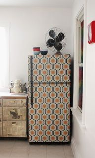 DIY: wallpapered fridge (cute in a rental with peel and stick contact paper).