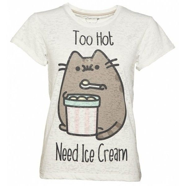 Women's Grey Marl Pusheen Too Hot Need Ice Cream Rolled Sleeve T-Shirt (25 AUD) ❤ liked on Polyvore featuring tops, t-shirts, gray t shirt, cream top, gray tees, grey top and grey t shirt
