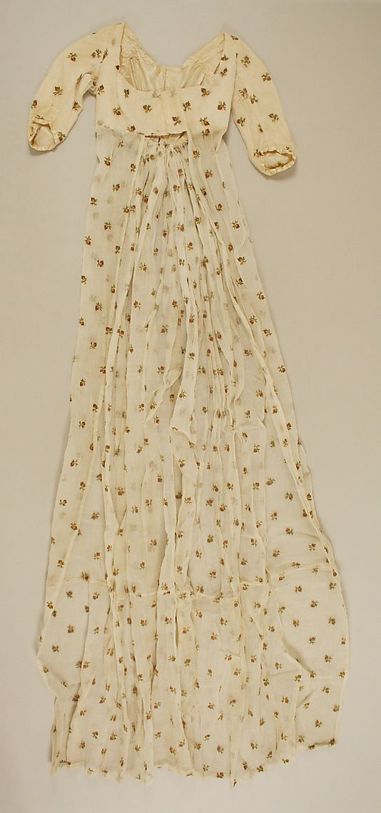 British cotton, silk dress circa 1801 from the Metropolitan Museum of Art. The skirt on the bottom is open to be worn over a petticoat.