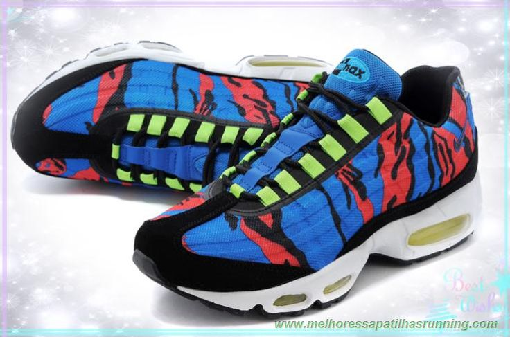 comprar tenis online 599425-014 Royal Azul/ Vermelho /Preto /Gamma Verde Nike Air Max 95 PRM Tape Masculino