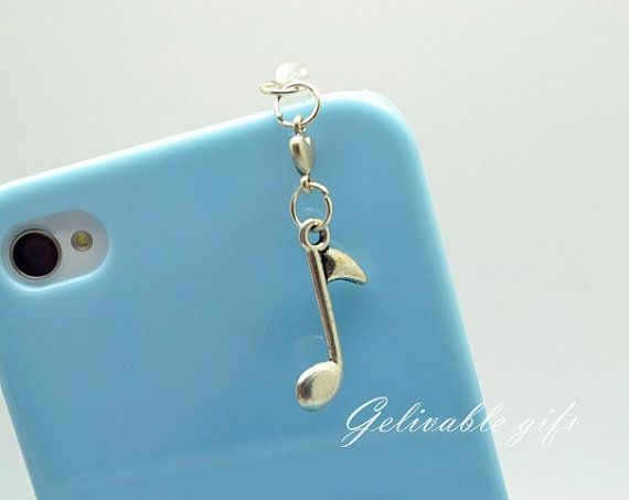 musical note iPhone 5 4S 4 charm,3.5mm dust proof plug with music note and love heart charms,fit for Samsung Blackberry HTC iPhone PSBM01 on Etsy, $2.99
