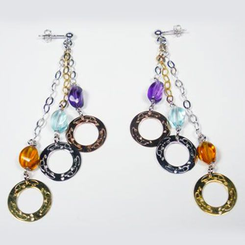 #Fashion #Earrings rhodium plated 925sterling silver, with round printed #EveryDayGioielli, colored stones twist, chain bi-colored white and yellow (Made in Italy)
