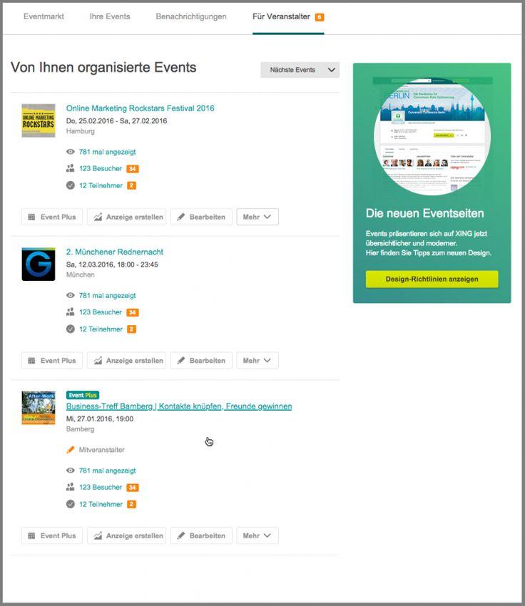 """Verbesserte Darstellung der Events im """"Für Veranstalter""""-Tab auf XING"""