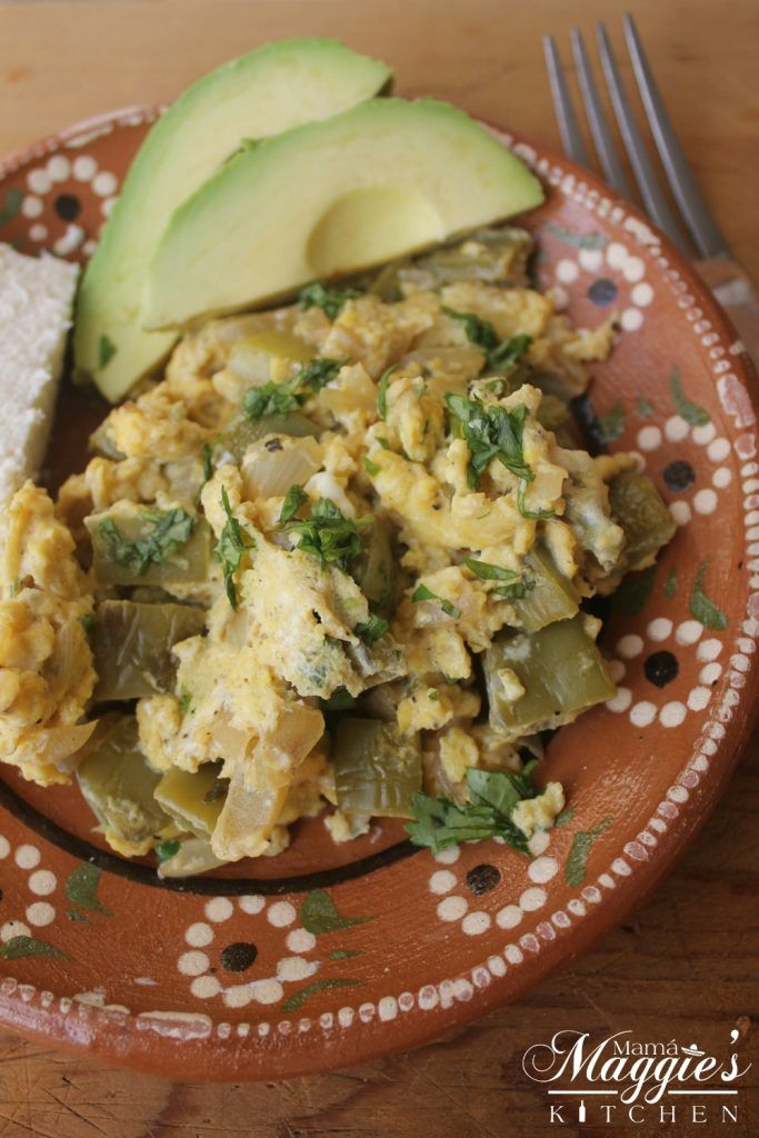 Nopales con Huevos (Cactus with Eggs) is an easy and healthy breakfast. Add tortillas and enjoy this Mexican food favorite. By Mama Maggie's Kitchen