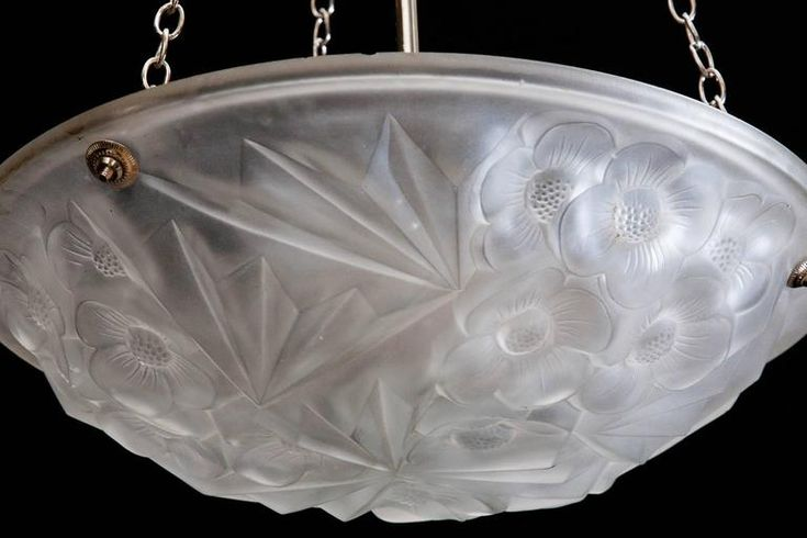 Art Deco 1930s Pressed Glass Dish Light 5