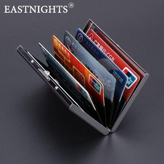 EASTNIGHTS 2016 new arrival High-Grade stainless steel men credit card holder women metal bank card case card box TW2703