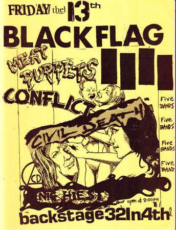 Black Flag, Conflict, Meat Puppets, Nig Heist punk hardcore flyer