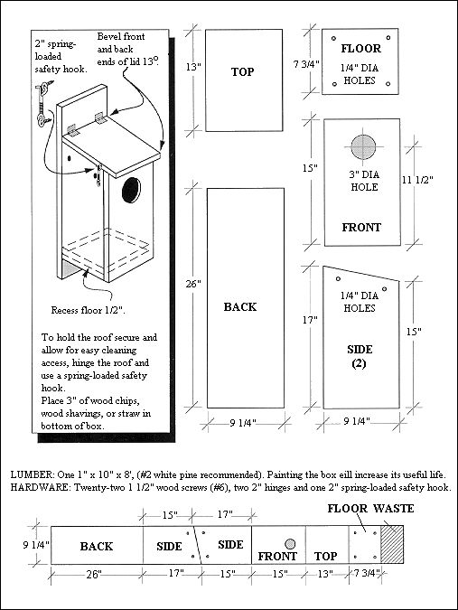 Black & white illustration of kestrel nest box cutting & assembly plans