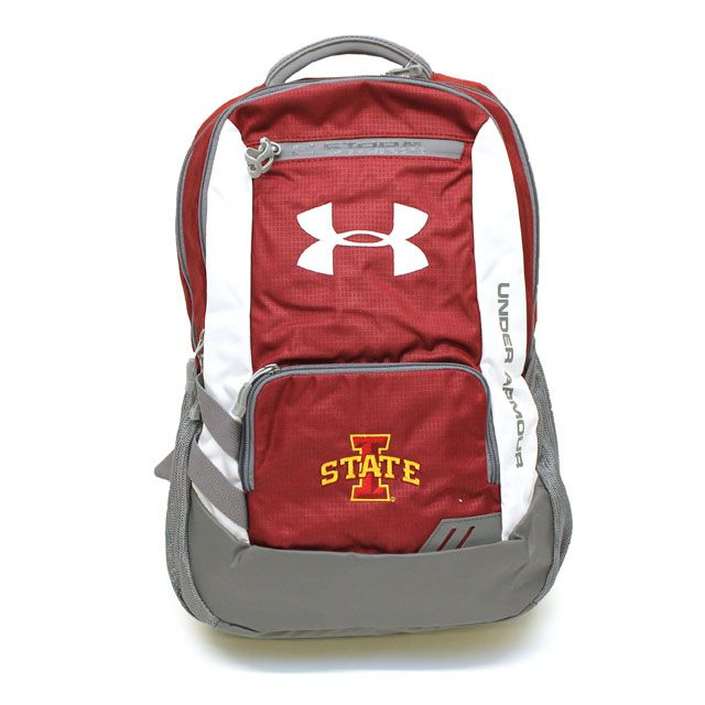 Under Armour® Hustle Storm I-State Backpack (Cardinal) | Iowa State University Bookstore