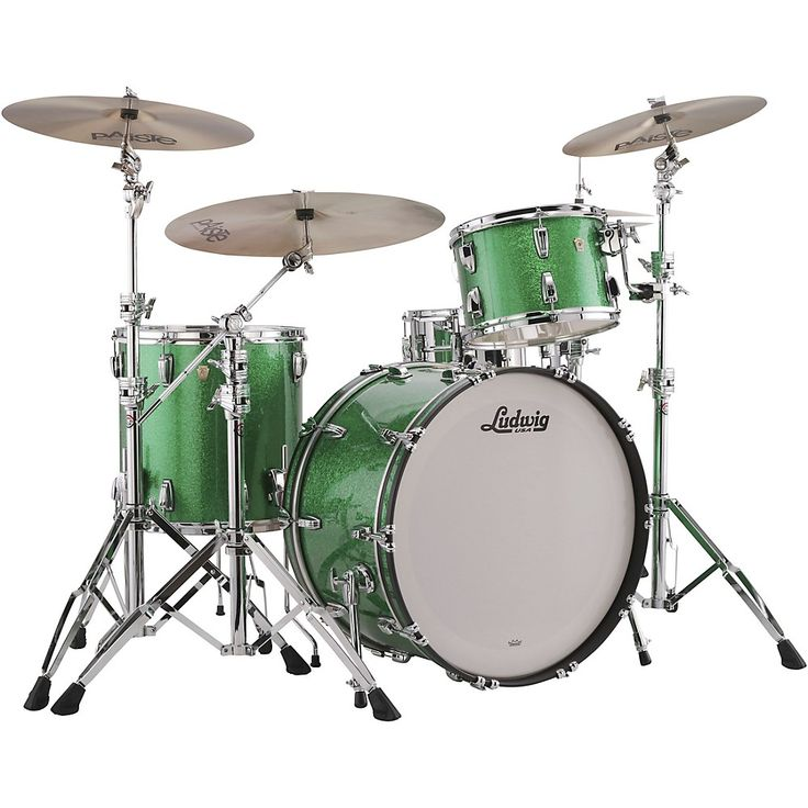 Ludwig Classic Maple 3-Piece Pro Beat Shell Pack with 24 in. Bass Drum Green Sparkle