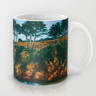 #Bretagne rocky coast, a sandy beach surrounded by beautiful cliffs with pine trees. A realistic acrylic painting #Mug by Katho Menden - $15.00 #Tasse