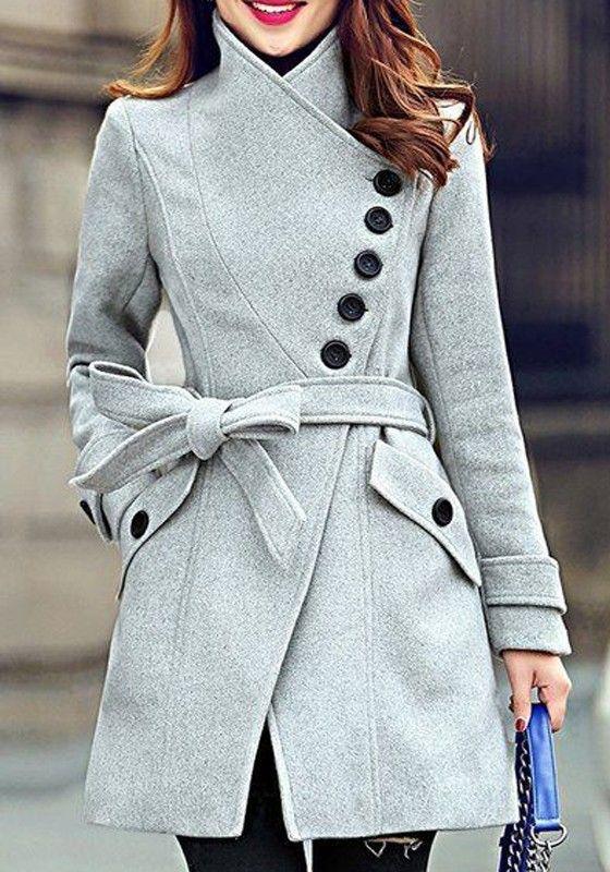 Grey Plain Belt Buttons Pockets Single Breasted Wool Coat