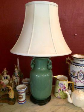 Ginger Jar Lamp, Green   White Silk Shade  Auto Touch Dimmer  $225  Butler Creek Antiques Dealer #8804  Lucas Street Antiques 2023 Lucas Dr....