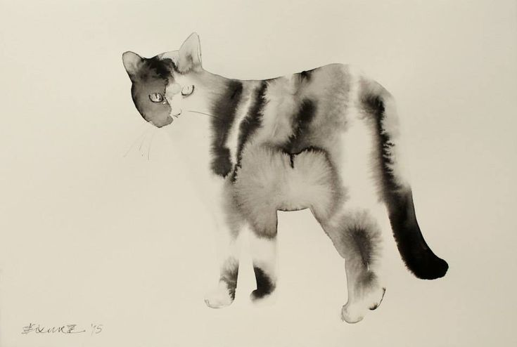 We continue to be awed by Serbian artist Endre Penovác's ability to somehow control the unforgiving nature of water on paper to produce ghostly paintings of felines. As the mixture of water and black ink bleeds in every direction it appears to perfectly mimic the cat's fur.