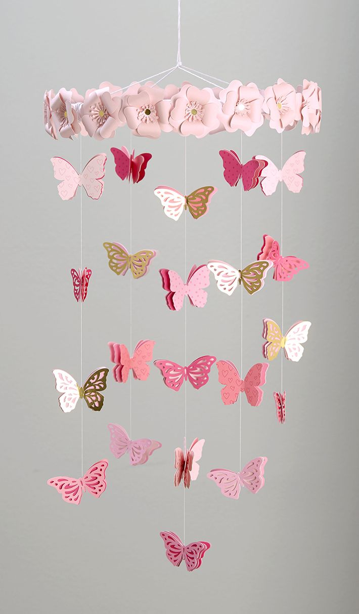 Diy Butterfly Mobile With Close To My Heart And Pocketfulofpaint Diy Butterfly Decorations Diy Butterfly Butterfly Mobile