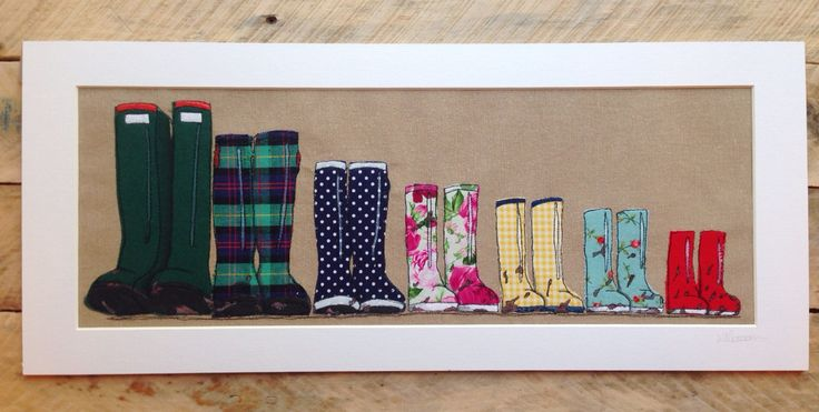 Family of seven wellies textile portrait