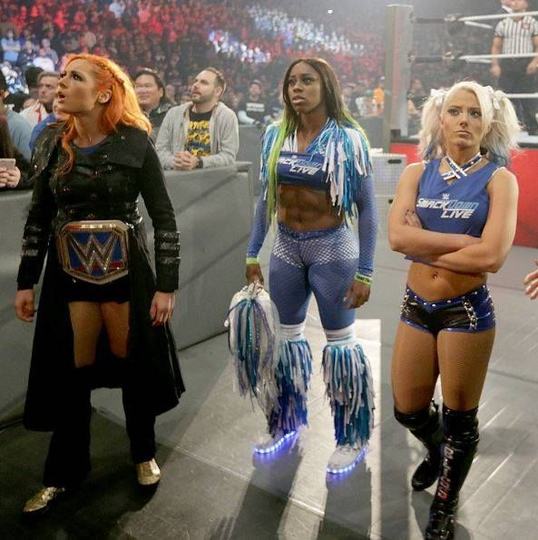 Becky Lynch, Naomi and Alexa Bliss