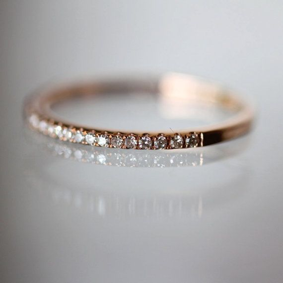 Micro Pave White Diamond Half Circle Band in 14K Gold (size 3.5 - 7) - Made to Order