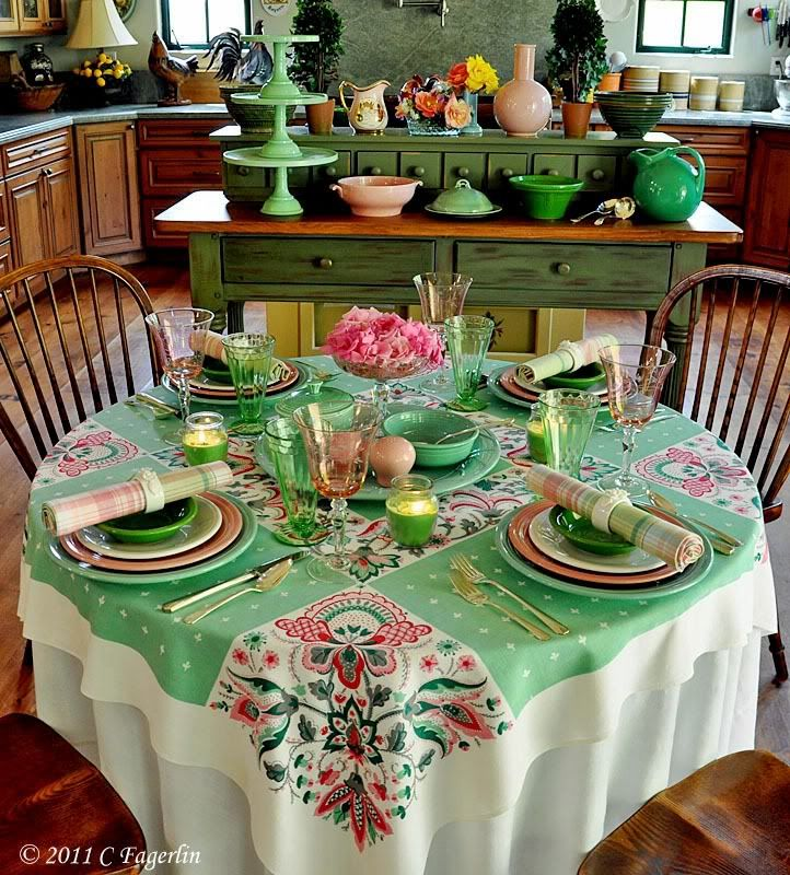 Tablecloths From The Little Round Table: Startex Paisley Green