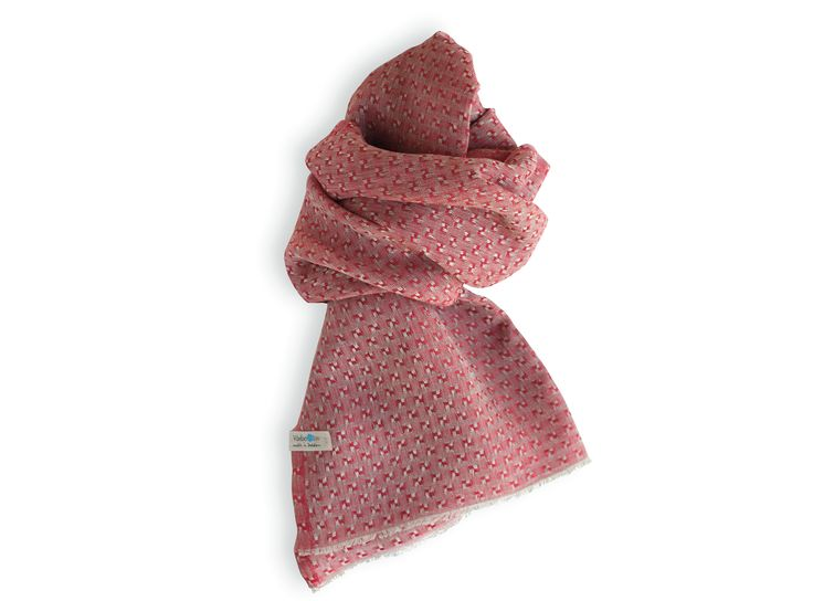 Shawl made of pure Linen. Red. Made in Sweden. Unisex.
