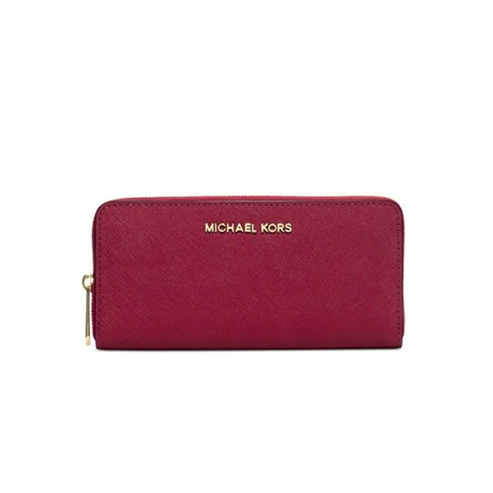MICHAEL Michael Kors Jet Set Travel Saffiano Leather Continental Wallet  Wine Red