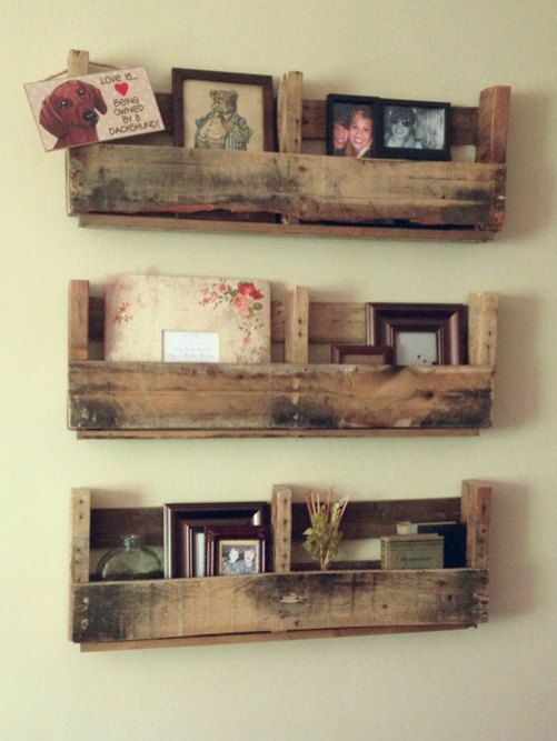 Rustic palette shelves. This would be great for a book shelf