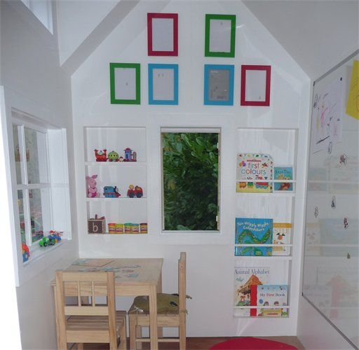 Fully Lined Playhouse Interior : Featuring Alcove Shelving and Railed Book Shelves. Love this!
