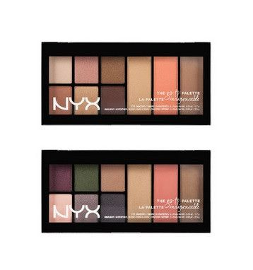 Travel light with the Go-To Palette from NYX Cosmetics. Each palette includes six highly-pigmented eyeshadows along with an illuminator, bronzer, and a gorgeous shade of blush. Brush it on lightly for