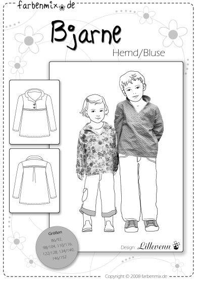 Mehrgrößenschnittmuster, Größen: bis 152 Alle Größen sind auf dem Schnittmusterbogen abgebildet. Das Hemd BJARNE ist ein Wohlfühlhemd für Jungs und Mädchen. Durch den weiten Schnitt und die...