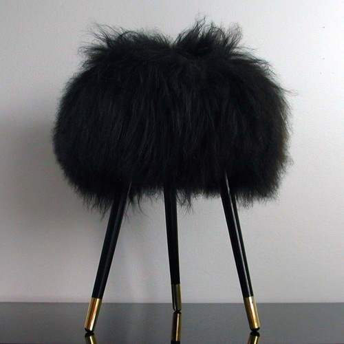 love it for the vanity... Mid Century Modern Tripod Real Iceland Sheep Upholstered Stool 1950''s
