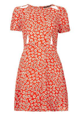 Petite Daisy Print Cutout Dress