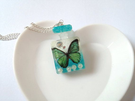 Resin Butterfly Perfume Bottle Necklace by LittleWoolShop on Etsy, $14.00