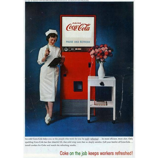 60s Coca-Cola ad shows that everyone drinks Coca-Cola and that theres always time for a soda break.