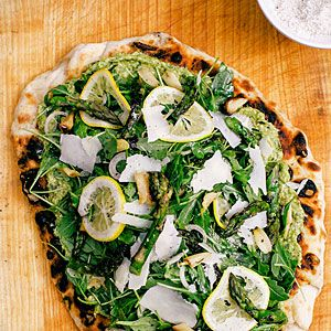 Asparagus Insalata Piadine Recipe Asparagus pesto on grilled flatbread topped with lemony arugula salad.