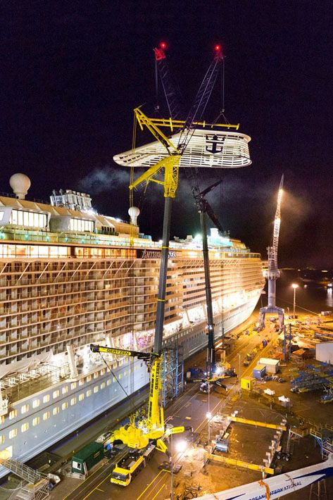 "At the end of February in North Germany the ""Anthem of the Seas"", the largest cruise ship ever built in Germany was moved out of the massive Hall 2 dock at Papenburger Meyer shipyard. It was only possible to install the funnel casing and ""North Star"" viewing gondola outdoors due to the sheer size of the vessel. The order for this work was awarded to Gertzen, based in nearby Kluse, which completed the job smoothly using two 750-tonne mobile cranes. Gertzen used the Liebherr LTM 1750-9.1 from…"