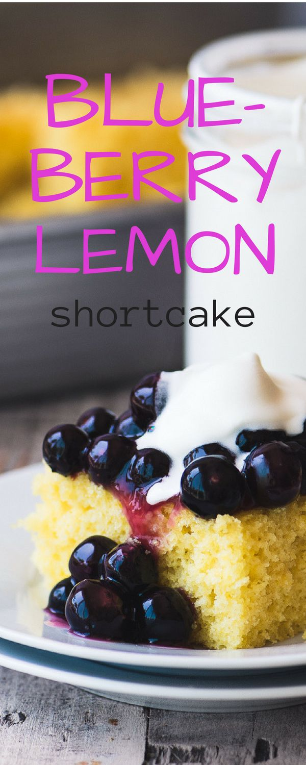 Blueberry Lemon Shortcake ~ warm juicy blueberries tumbling over a fluffy lemon cake ~ all topped with a dollop of homemade whipped cream | dessert | recipe | summer dessert | boxed cake mix