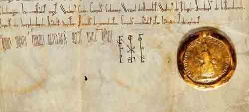 Siegel König Friedrich Barbarossas († 1190): Die Urkunde entstand um 1153 anlässlich eines Gütertauschs zugunsten des Klosters Maulbronn.  (HStAS H 51 U 10)